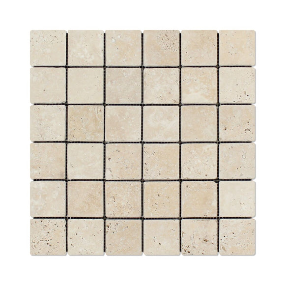 Andean Vanilla Peruvian Travertine 2 X 2 Tumbled Mosaic Tile - 6