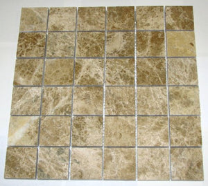 "Light Emperador Polished Mosaics 2x2 Meshed on 12"" X 12"" Sheet for Backsplash, Shower Walls, Bathroom Floors."