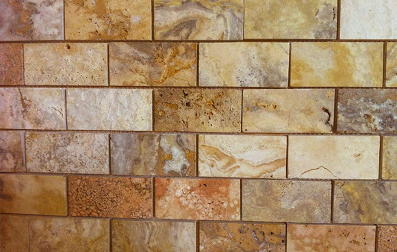 Scabos POLISHED and Unfilled Travertine 2x4 Mosaic Tile - 6