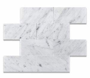 Bianco Carrara White 3 X 6 Marble Honed Brick Tile - Box of 5 sq. ft.