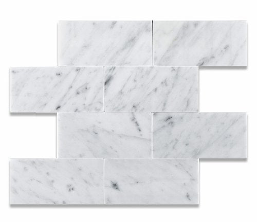 Carrara White 3 X 6 Marble Polished Brick Mosaic Tile - 2 pcs. Sample-Set