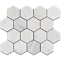 "Oriental White - Eastern White Marble 3"" Hexagon HONED Mosaic Tile - 6"" X 6"" Sample"