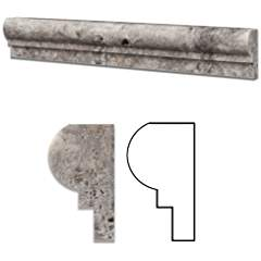 Silver (Pewter Blend) Travertine Honed 2 X 12 Chair Rail Ogee-1 Molding - Standard Quality - BOX of 15 PCS