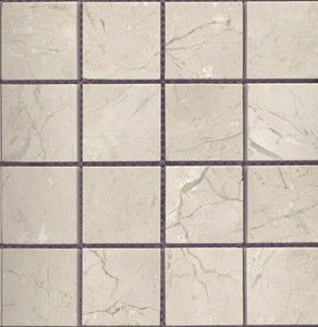 "Crema Marfil 2x2"" Square Mosaic Polished Mesh Mounted Sheets"