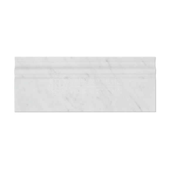 Carrara White Italian (Bianco Carrara) Marble Baseboard Trim Molding, Honed