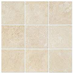Ivory (Light) Travertine 4 X 4 Field Tile, Filled & Honed