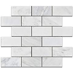 Oriental White - Eastern White Marble 2 X 4 HONED Brick Mosaic Tile - Box of 5 Sheets
