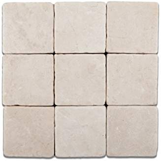 Turkish Crema Marfil Marble 4 X 4 Tumbled Field Tile - Box of 5 sq. ft.