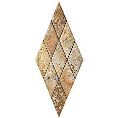 Scabos Travertine 3 X 6 Diamond (Rhomboid) Mosaic Tile, Honed and Deep Beveled