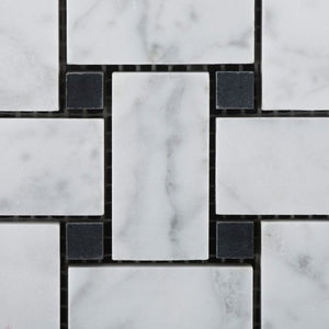 Bianco White Carrara Marble Basketweave with Black Dot POLISHED Mosaic Tile on 12x12 Sheet - Box of 5 sqf