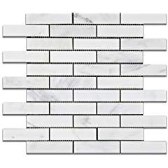 "Oriental White - Eastern White Marble 1 X 4 HONED Brick Mosaic Tile - 6"" X 6"" Sample"