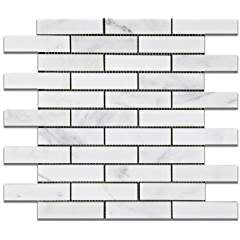 "Oriental White - Eastern White Marble 1 X 4 POLISHED Brick Mosaic Tile - 6"" X 6"" Sample"