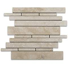 Ivory (Light) Travertine Random Strip Mosaic Tile, Honed - Box of 5 sq. ft.