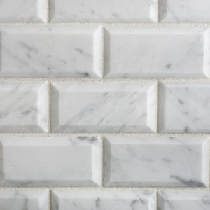 "Bianco Carrara White Marble 2 X 4 Honed & Beveled Brick Mosaic Tile - 6"" X 6"" Sample"