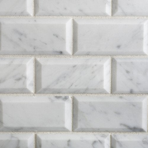 Bianco Carrara White Marble 2 X 4 Honed & Beveled Brick Mosaic Tile - 6