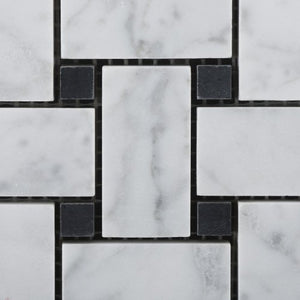 "Bianco Carrara White Marble Honed Basketweave Mosaic Tile with Black Dots - 6"" X 6"" Sample"