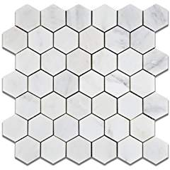 "Oriental White - Eastern White Marble 2"" Hexagon HONED Mosaic Tile - Box of 5 Sheets"