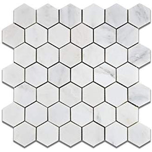 "Oriental White (Eastern White) Marble 2"" Hexagon Mosaic Tile, Polished - Box of 5 Sheets"