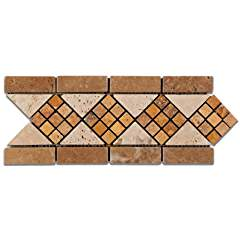 Ivory & Noce & Gold Travertine Trieste Tumbled Border / Listello - Lot of 50 Pcs.
