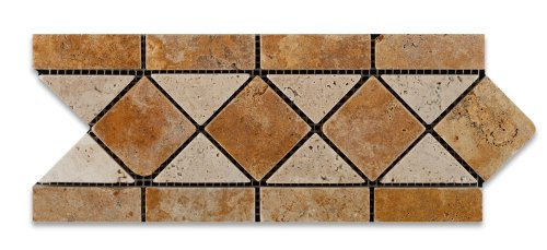 Gold / Yellow & Ivory Travertine Tumbled Trojan Border / Listello - Box of 5 pcs.