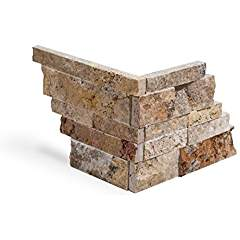 Mystic Travertine Stacked Ledger Wall Panel Tile Corner, Split-faced (75 PCS.)