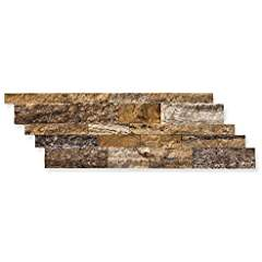 Mystic Travertine 7 X 20 Stacked Ledger Wall Panel Tile, Split-faced (25 PCS.)