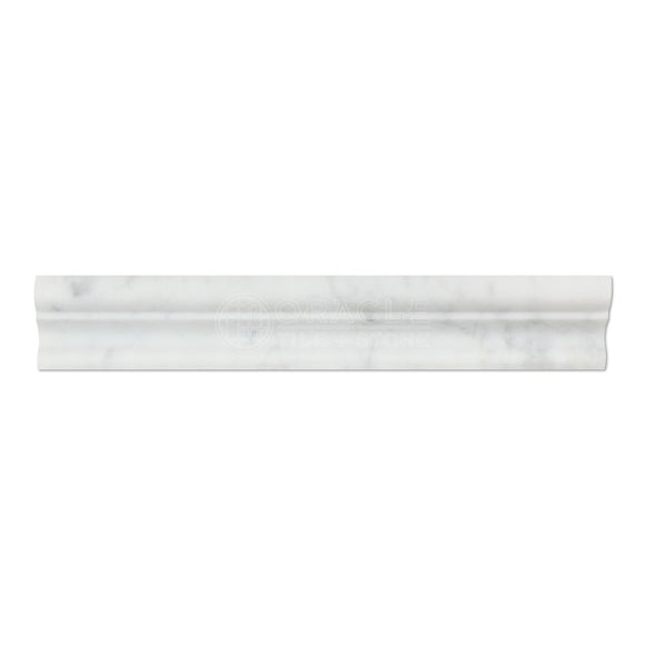 Carrara White Italian (Bianco Carrara) Marble Crown Mercer Molding Trim, Honed