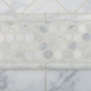 "Bianco Carrara White Marble Honed 1"" Mini Hexagon Mosaic Tile - 6"" X 6"" Sample"