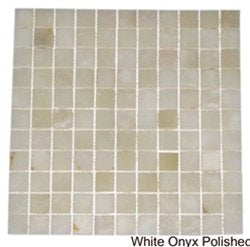 White Onyx Polished Mosaics Tiles 4x4 Sample of 1x1
