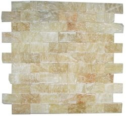 Split Face 4x4 Sample of Honey Onyx 1x2 Mosaic Tile
