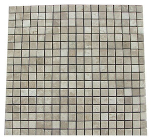 Botticino Beige Marble Polished 5/8 x 5/8 Mosaic Tiles - PACK OF 3 SHEETS