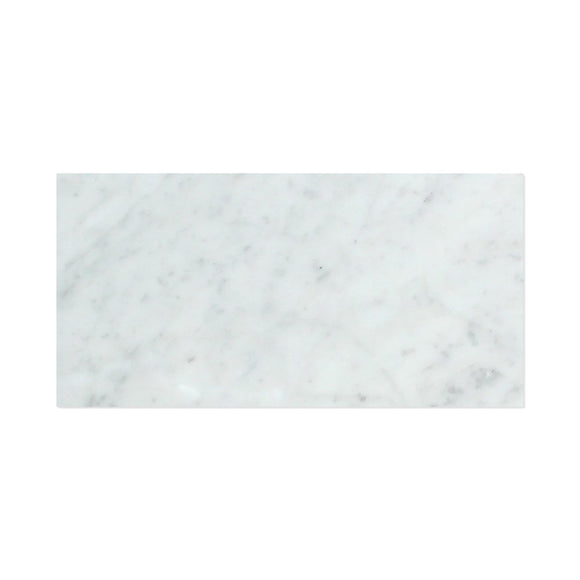 Carrara White Italian (Bianco Carrara) Marble 3 X 6 Subway Brick Field Tile, Honed