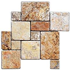 Scabos Travertine 4-Pieced OPUS Mini-Pattern Tumbled Mosaic Tile - Lot of 50 sq. ft.