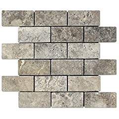 Silver Travertine 2 X 4 Brick Mosaic Tile, Tumbled (LOT of 5 SHEETS)