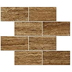 Noce Travertine 3 X 6 Rectangular Field Tile, Vein-Cut, Brushed & Unfilled (Small Sample)
