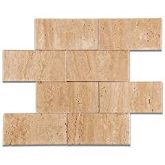 Mut Mocha Travertine 3 X 6 Brick Polished Field Tile - Box of 5 sq. ft.