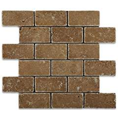 Noce Travertine 2 X 4 Tumbled Brick Mosaic Tile - Box of 5 sq. ft.