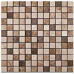 "Mixed Marble 1 X 1 Venice Polished Mosaic Tile - 6"" X 6"" Sample"