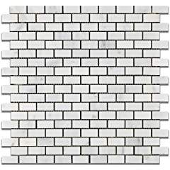 Oriental White - Eastern White Marble HONED Mini-Brick Mosaic Tile - Lot of 50 Sheets