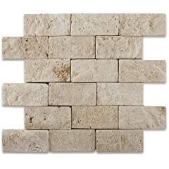 Ivory Travertine 2 X 4 Split-Faced & Tumbled Brick Mosaic Tile - Box of 20 sq. ft.