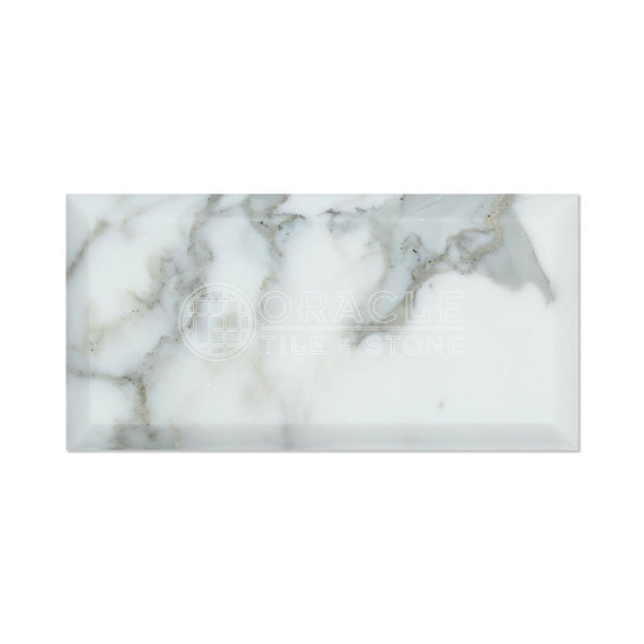 Calacatta Gold (Italian Calcutta) Marble 3 X 6 Subway Field Tile, Polished and Deep Beveled