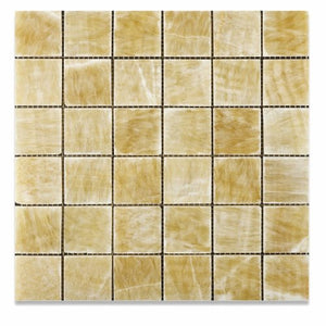 Honey Onyx 2 X 2 Polished Premium Mosaic Tile on Mesh (Lot of 50 sq. ft.)