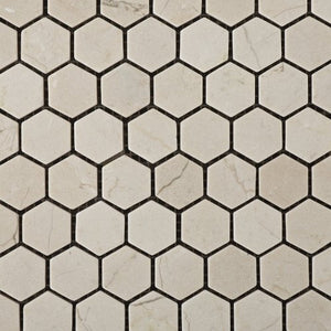 "Crema Marfil Marble Tumbled 1"" Mini Hexagon Mosaic Tile - 6"" X 6"" Sample"
