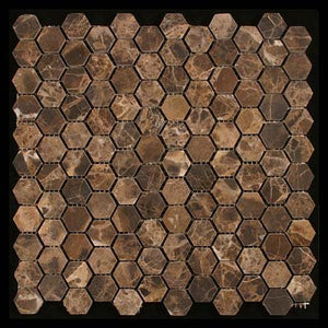 Emperdaor Hexagon Tumbled Mosaic Tiles on 12x12 Sheet for Backsplash, Shower Walls, Bathroom Floors