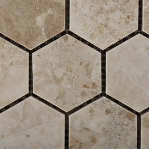 "Cappuccino Marble Polished 2"" Hexagonal Mosaic Tile on Mesh - Box of 5 sq. ft."