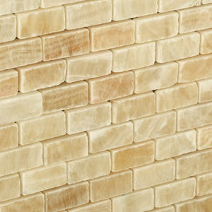 Honey Onyx Mini Brick Mosaic Tile, Polished - Box of 5 sq. ft.