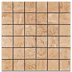 Mut Mocha Travertine 2 X 2 Polished Mosaic Tile - Box of 5 Sheets