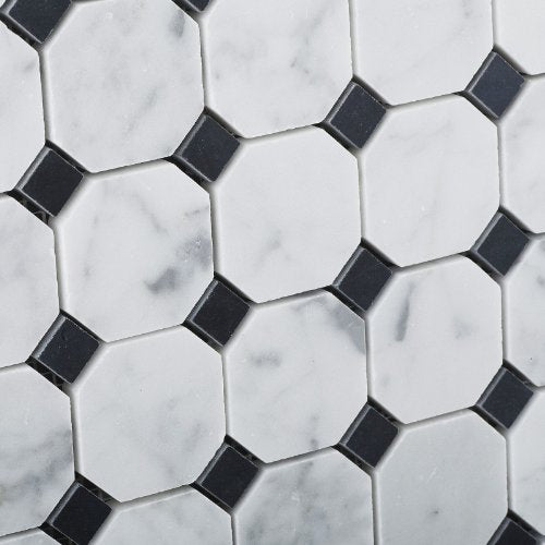 Bianco Carrara White Marble Honed Octagon Mosaic Tile with Black Dots