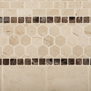 Crema Marfil Marble Tumbled Baby Brick Mosaic Tile - Lot of 50 sq. ft.