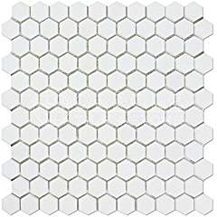 Thassos White Greek Marble 1 inch Hexagon Mosaic Tile, Honed - 125 SHEETS for Bruce